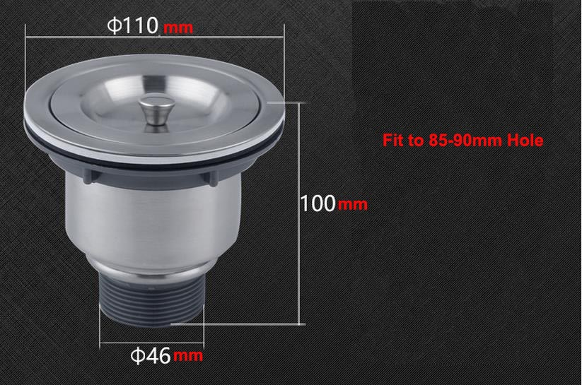 Stainless Steel Brushed Sink Drain Commercial Kitchen Sink Basket Drain Strainer