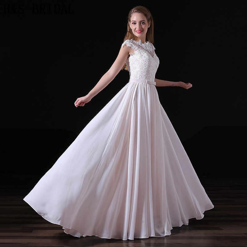 H & S כלה אור ורוד שיפון חתונה עם רעלה תחרה אפליקציות למעלה קצר שרוול אלגנטי חתונת שמלת תחרה עד חזרה 2019