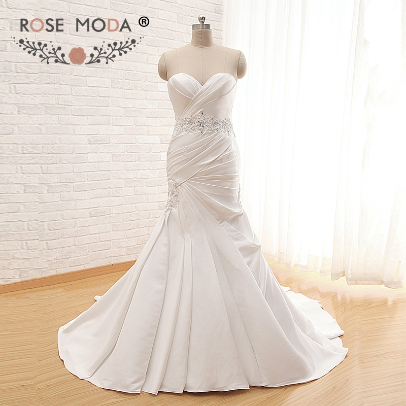 Rose Moda Mermaid Wedding Dress 2019 Bridal Satin Wedding Dresses With Sash Real Photos