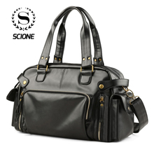 Scione High Quality PU Briefcases Bags Fashion Travel Casual Waterproof Duffel Shoulder Bag Classic Laptop For Men Business