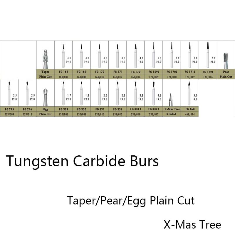 Taper Egg Plain Cut Tungsten Carbide Burs Dental Burs Diamond Burs Dental Lab Material Tungsten Steel Grinding Head Rotary Burrs