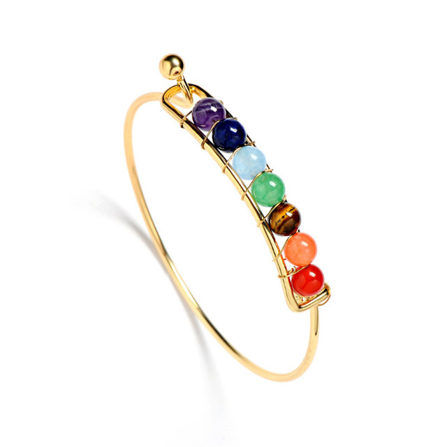 7 Chakra Stone Bangels Natural Stone Bracelet&Bangles Gold&Sliver Color Purple Crystal Bracelet Jewelry Women 2