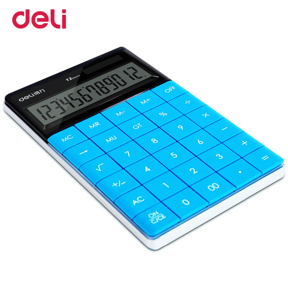 Image 2 - Deli creative cute  rimless solar coin battery dual power supply calculator for office desk supplyschool stationery gift for kid-in Calculators from Computer & Office