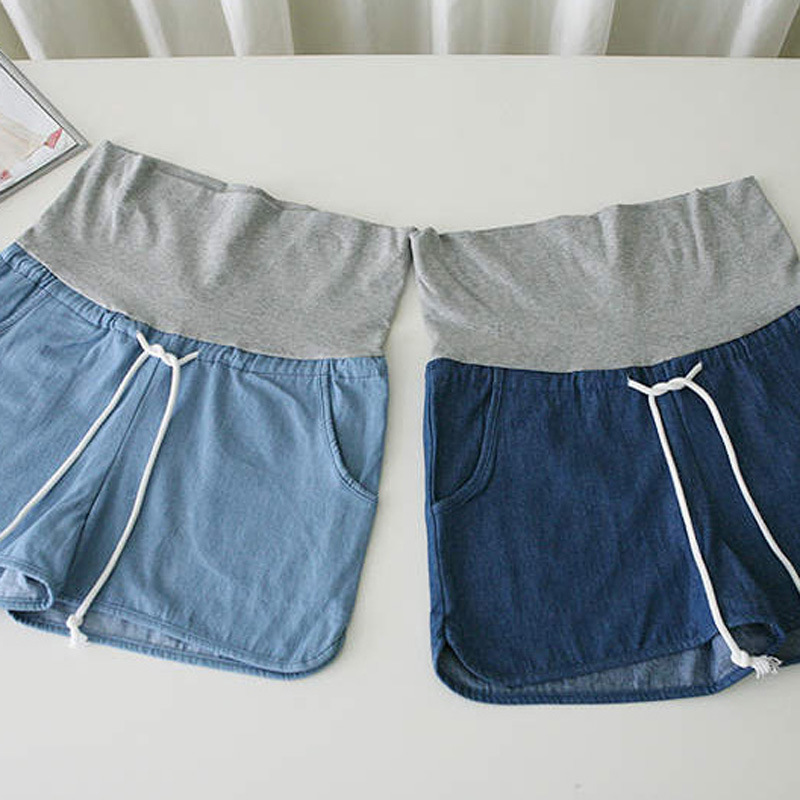 Elastic Waist Denim Maternity Pants for Pregnant Mother Shorts Summer Casual Pregnancy Pants New Maternity Clothes Trousers