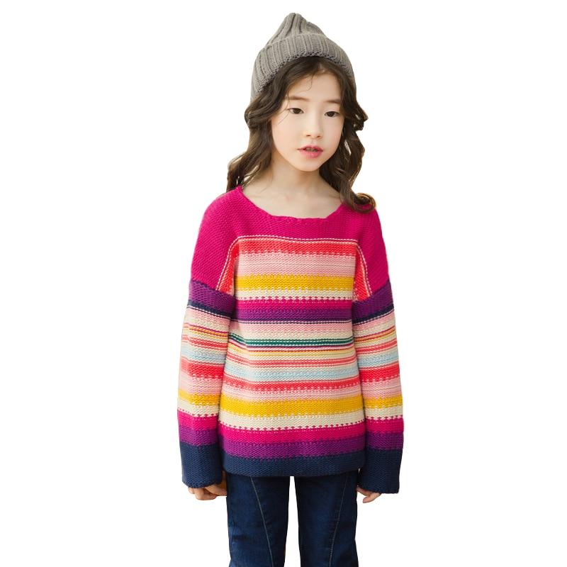 kid colorful rainbow sweater age for 4 - 14 yrs big girls winter thick warm sweater teen autumn school long-sleeve red tops 2018 цены онлайн