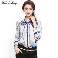 Blusas Femininas Fashion Vintage Women's OL Office Shirt Chiffon Blouse Women's Long Sleeve Print Tops Women Clothing