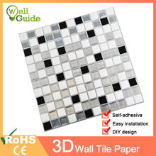 Wall paper 3D White Grey Marble Mosaic Peel and Self Stickers Waterproof for DIY Kitchen Bathroom Home Decal Sticker