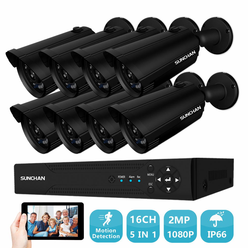 SUNCHAN 16CH AHD 1080N DVR Security Camera System Home CCTV Video DVR Kit 8 1080P Outdoor CCTV System Kit