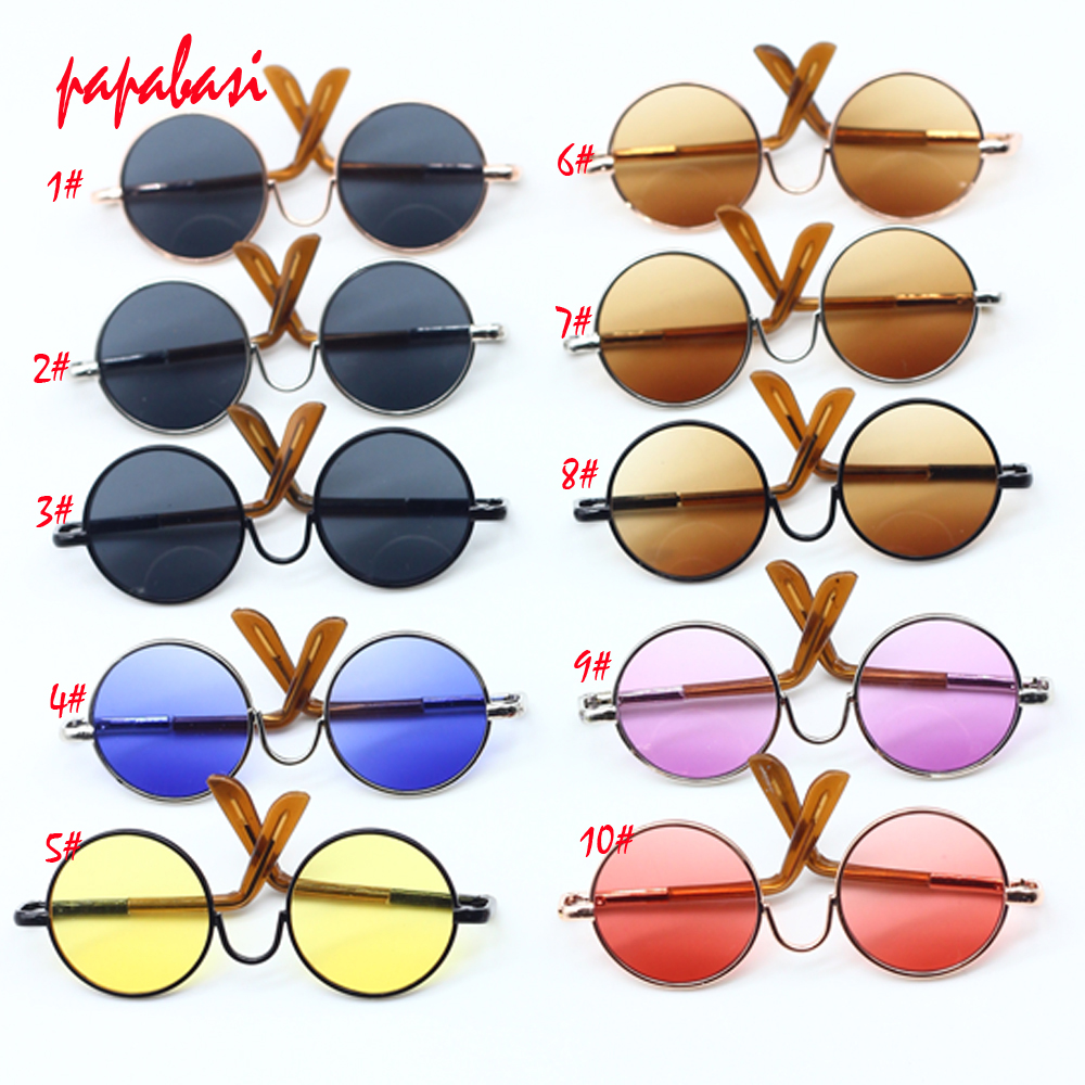 1PCS Eyewear for icy blyth doll jecci five Accessories round-shaped Round glasses colorful sunglasses free shipping new style doll accessories round shaped glasses sunglasses suitable for 1 3 bjd dolls mini doll glasses for dolls good quality