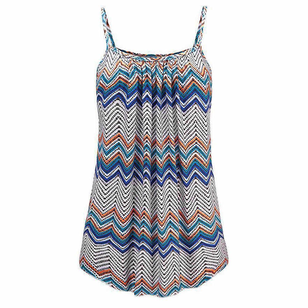 De talla grande 3XL 4XL 5XL 6XL mujer verano estampado sin mangas chaleco Blusa camisetas sin mangas ropa Blusa femenina