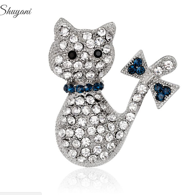 floating jewelry kawaii cat rinestone brooches corsage womens fashion garment accessories brooch pins sweater suit breastpin