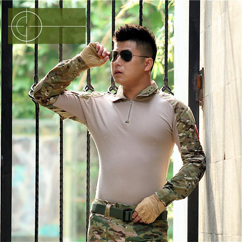 Europe Russia Tactical Military TShirts Spring Autumn China made Army Camouflage Combat Shirt Multicam Uniform Quick Dry lapel