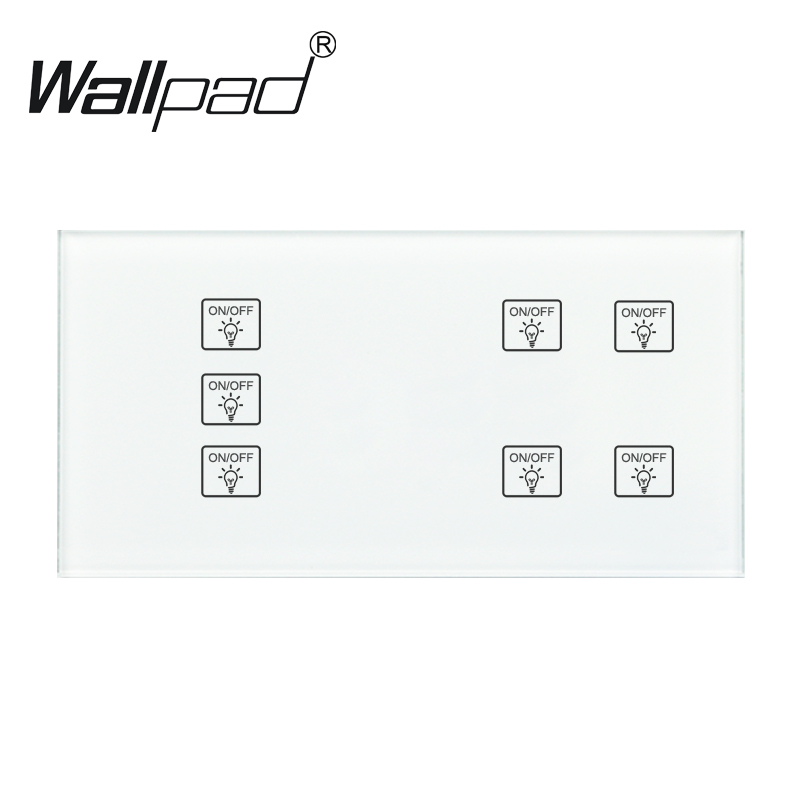 7 Gang 2 Way Wallpad White 110 250V 172 86mm Temered Glass Panel Customize Switch 4