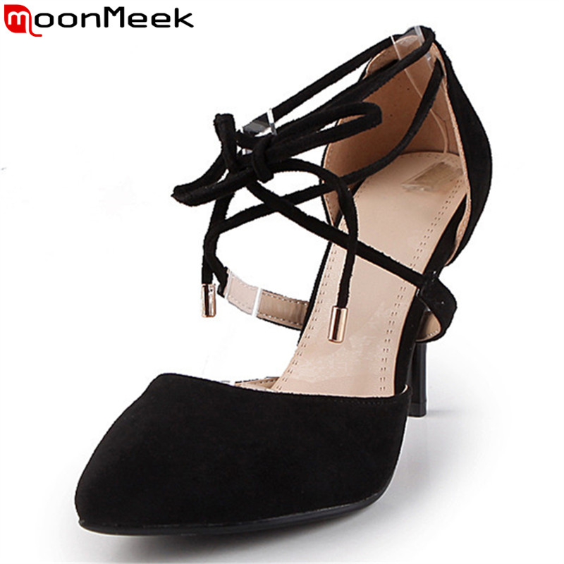 MoonMeek 2017 hot sale new arrive women pumps fashion pointed toe flock lace up summer high heels shoes sexy lady prom shoes fashion new spring summer med high heels good quality pointed toe women lady flock leather solid simple sexy casual pumps shoes