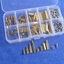 200Pcs/M3 PCB Threaded Female Brass Standoff Spacer Board Hex Screws Nut Assortment Box kit set все цены