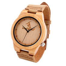BOBO BIRD L07 Mens Bamboo Wooden Quartz Watches Casual Sport Dress Watches with Real Leather Strap in Gift Box Customizable logo