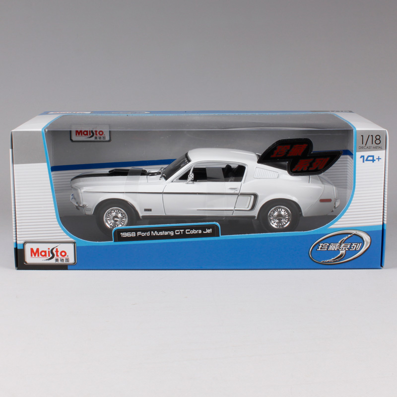 Maisto  White Blue Ford Mustang Gt Cobra Jet Muscle Car Model Cast Model Car Toy New In Box Free Shipping  Incasts Toy Vehicles From