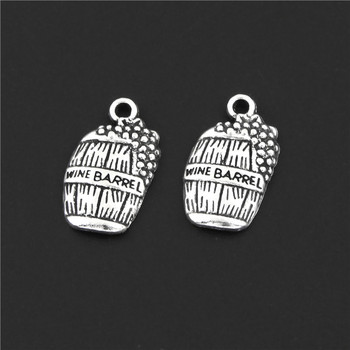 15Pcs Silver Color Grape Wine Barrel Charms Cask Pendant Handcrafts Ancient Earrings Jewelry Supplies 8x12mm A3120 image