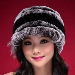 Image 3 - Factory Direct Hot Sale Caps For Women Real Rex Rabbit Fur Hats Genuine Knitted Rex Rabbit Fur Beanies Skullies DL6249