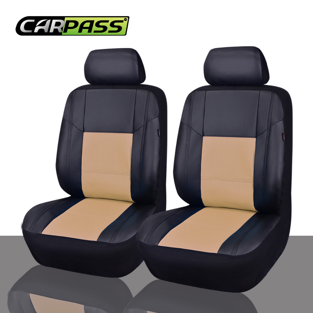 Car Pass Universal PU Leather Auto Seat Covers 2 Front Fit For Bmw Hyundai Mazda All Cars In Automobiles From