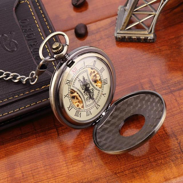 Drop Shipping Men Women Antique Retro Vintage Pocket Mechanical Watch Chain Bronze Silver Promotion