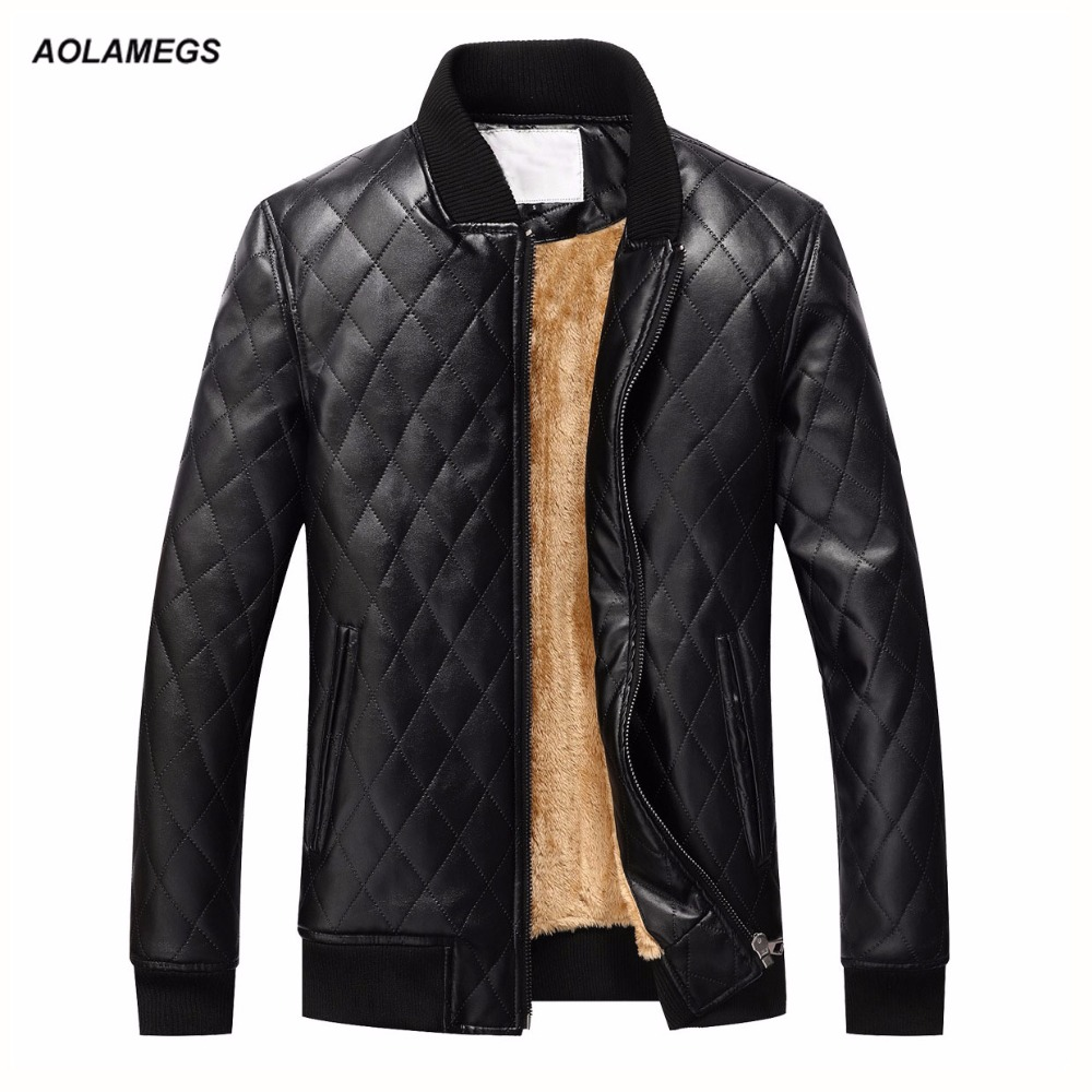 Aolamegs Men Leather Jacket Winter Warm Fleece Male PU Quilted Jacket Coat Casual Fashion Stand Collar Men's Outwear US EUR SIZE сказки о природе