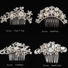 Floral Wedding Tiara Sparkling Rhinestone Simulated Pearl Bridal Hair Combs Hairpin Jewelry Hair 5 Styles Headwear-00624