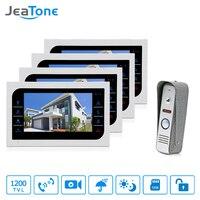 JeaTone Video Doorphone Intercom Doorbell Camera System Touch Button Indoor Monitor 7 Home Security Door Access