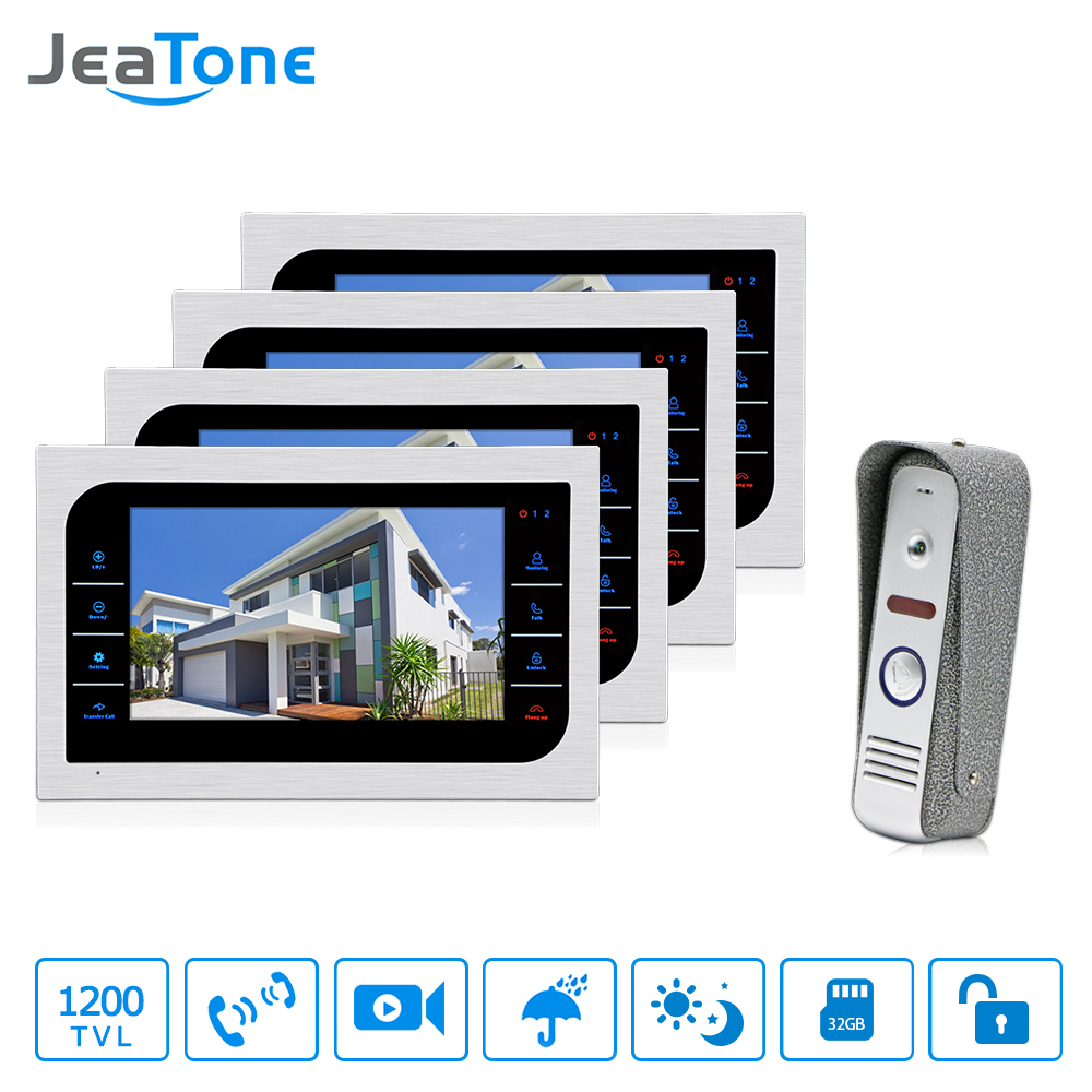 JeaTone Video Doorphone Intercom Doorbell Camera system Touch Button Indoor Monitor 7 Home Security Door Access Waterproof 4v1 jeatone 7 lcd monitor wired video intercom doorbell 1 camera 2 monitors video door phone bell kit for home security system