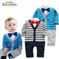 Keelorn menino roupa Do Bebê 2017 Outono masculino cavalheiro do bebê do algodão laço longo-manga calções babys conjuntos de roupas Um-uma peça romper