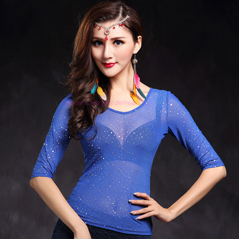 NEW! Mesh Belly Dance Costumes Senior Half Sleeves Silver Top For Women Belly Dance Exercise Jackets M L