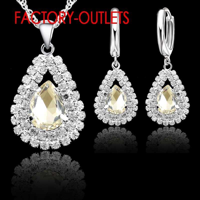 Heißer Verkauf 925 Sterling Silber Braut Schmuck Sets Österreichischen Kristall Wasser Tropfen Halsketten Hoop Ohrringe Frauen Partei Engagement