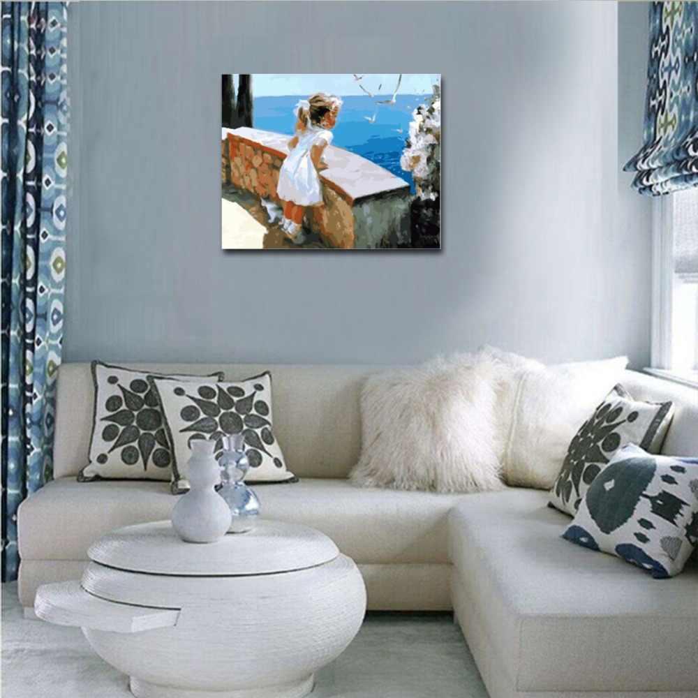 Ween Ragazza Guardare Oceano Pittura di Diy Dai Numeri Astratta Gabbiano Pittura a Olio su Tela di Canapa Mare Cuadros Decoracion Acrilico di Arte Della Parete