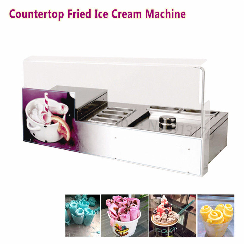 Desktop Square Pan Fried Ice Cream Roll Machine 220V Commercial Ice Yogurt Roll Maker with 6 Pots ce fried ice cream machine stainless steel fried ice machine single round pan ice pan machine thai ice cream roll machine
