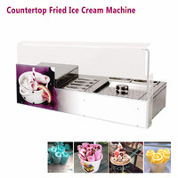 Desktop Square Pan Fried Ice Cream Roll Machine 220V Commercial Ice Yogurt Roll Maker with 6 Pots