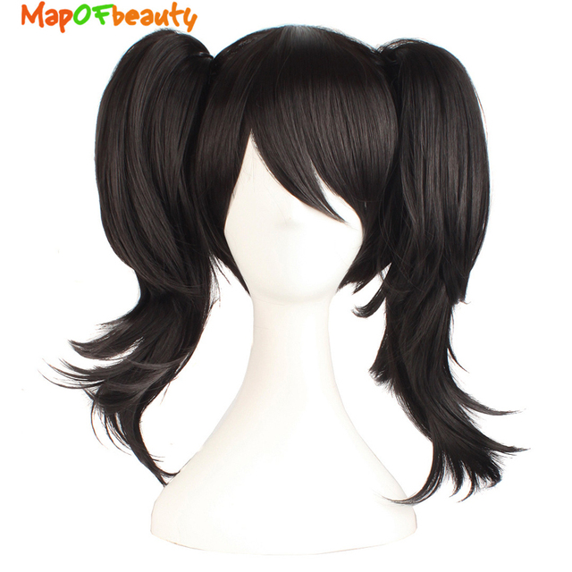 """MapofBeauty 16"""" Short Curly Black Ponytail Lolita Wigs for Women Cosplay Synthetic Hair Heat Resistant Claw LoveLive! YazawaNico"""