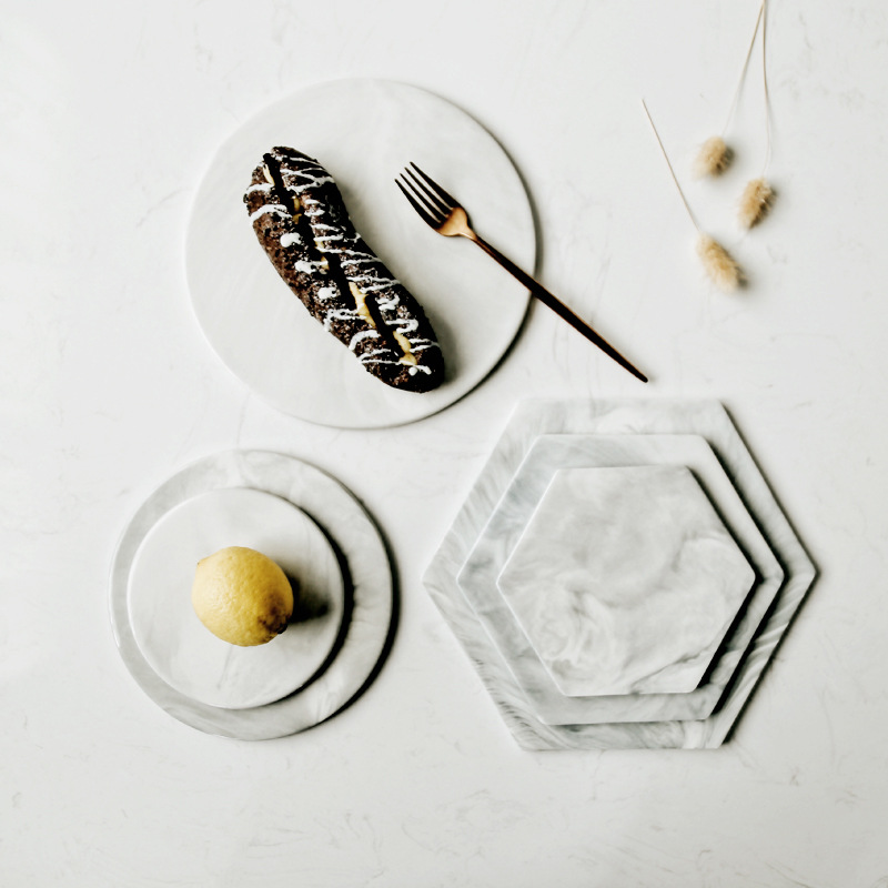 Marble Ceramic Plate Dish Cake Dessert Fruit Sushi Plate Cutting Boards Coaster Mad Pad Decorative Plate Kitchen Tools