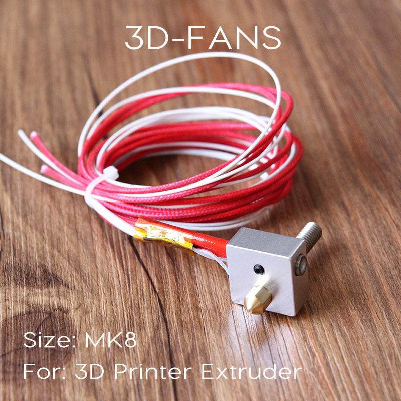 3D Printer Parts MK8 Extruder Hot End Kit DIY Hot End + Heater Cartridge Aluminum Heat Block 1.75mm 0.4mm Free Shipping