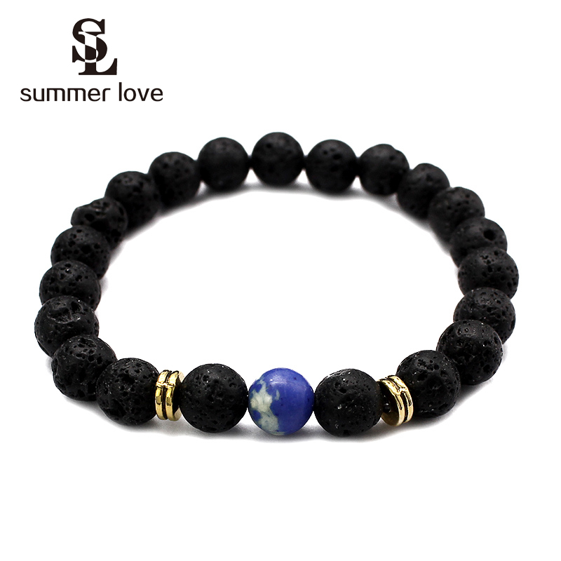 Natural Stone Beads Bracelets High Quality 8mm Buddha Lava Round Beads Elasticity Rope Bracelets for Women Men Jewelry