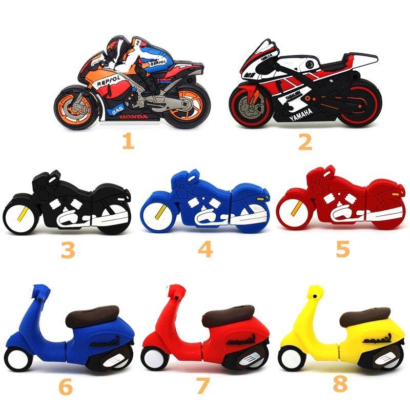Cute Racing Motorcycle USB Flash Drive 64GB 32GB 16GB Memory Stick Cartoon Motorbike Pen Drive Lovely Scooter 4GB 8GB Pendrive