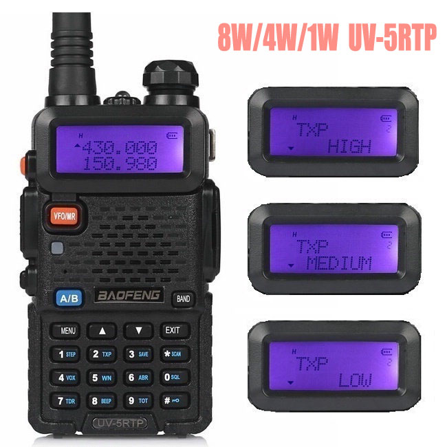 Baofeng UV-5R TP 8W High Power VHF / UHF 136-174 / 400-520MHz Dual Band FM True Tovejs Ham Radio Walkie Talkie Øret UV-5RTP