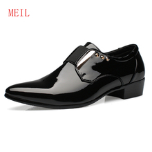 Luxury Men Dress Wedding Shoes Patent Glossy Leather 4CM High Heels Italian Fashion Pointed Toe Heighten Oxford Shoes Party Prom