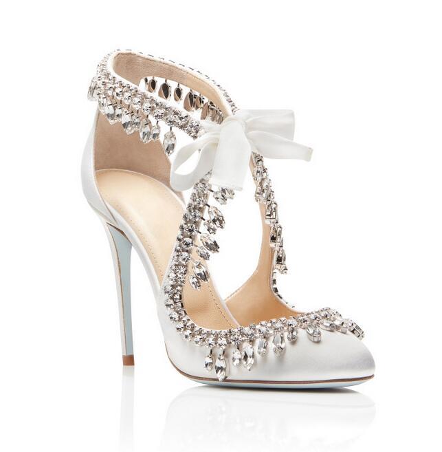 Zapatos de boda de satén blanco elegante de novia Bling de cristal borla de encaje de tacón alto de mujer plus tamaño 10 - 5