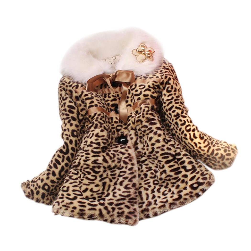 Coat Girls Leopard Baby Winter Casual New Jacket Lined Faux-Fur Turn-Down-Collar Long-Sleeve