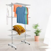3 Tier Collapsible Adjustable Indoor Outdoor Drying Rack Organizer Clothes Hanger Laundry Clothing Organization