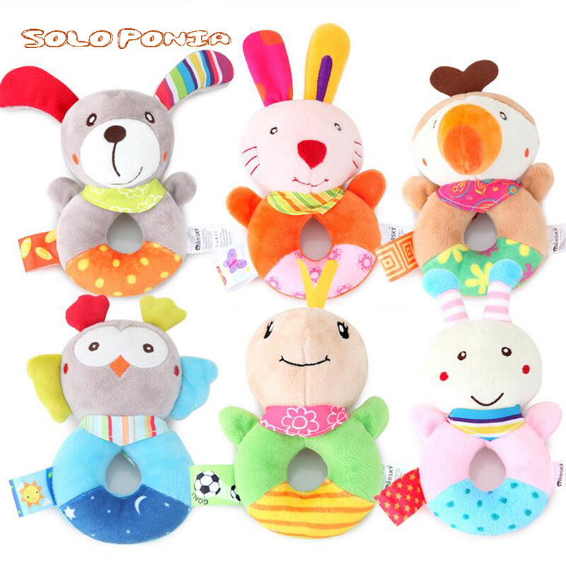 hand animal rattle Infant Baby rattles bebe mobiles cute toys models plush toy baby boys girls Educational dolls BB215 baby toys