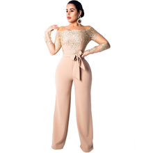 Floral Lace Long Sleeve Wide Leg Jumpsuit Women Off The Shoulder Sexy Romper Nightclub Birthday Loose Party Overalls with Sashes(China)
