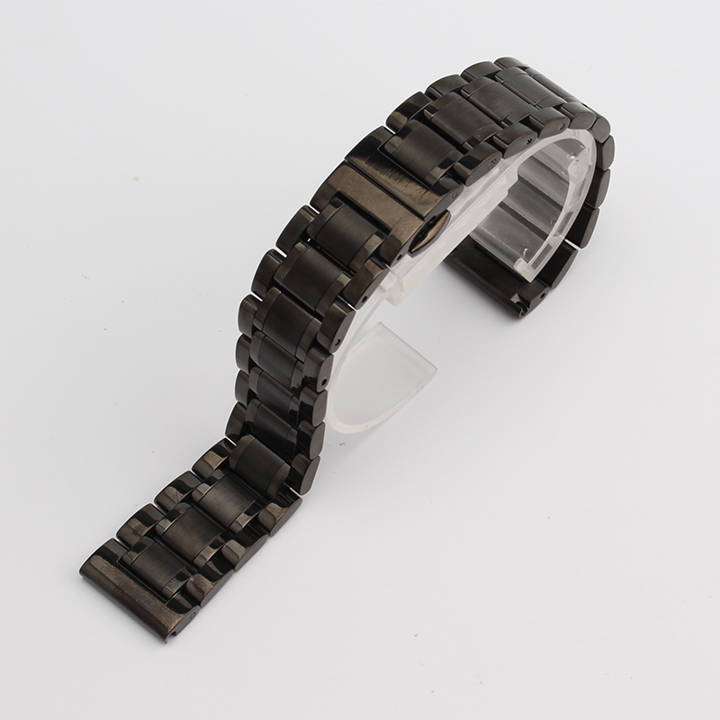 Watch bands 14mm 15mm 16mm 17mm 18mm 19mm 20 21 22 23m black Metal Watchband Strap Bracelets Double Push Deployment Watch Buckle