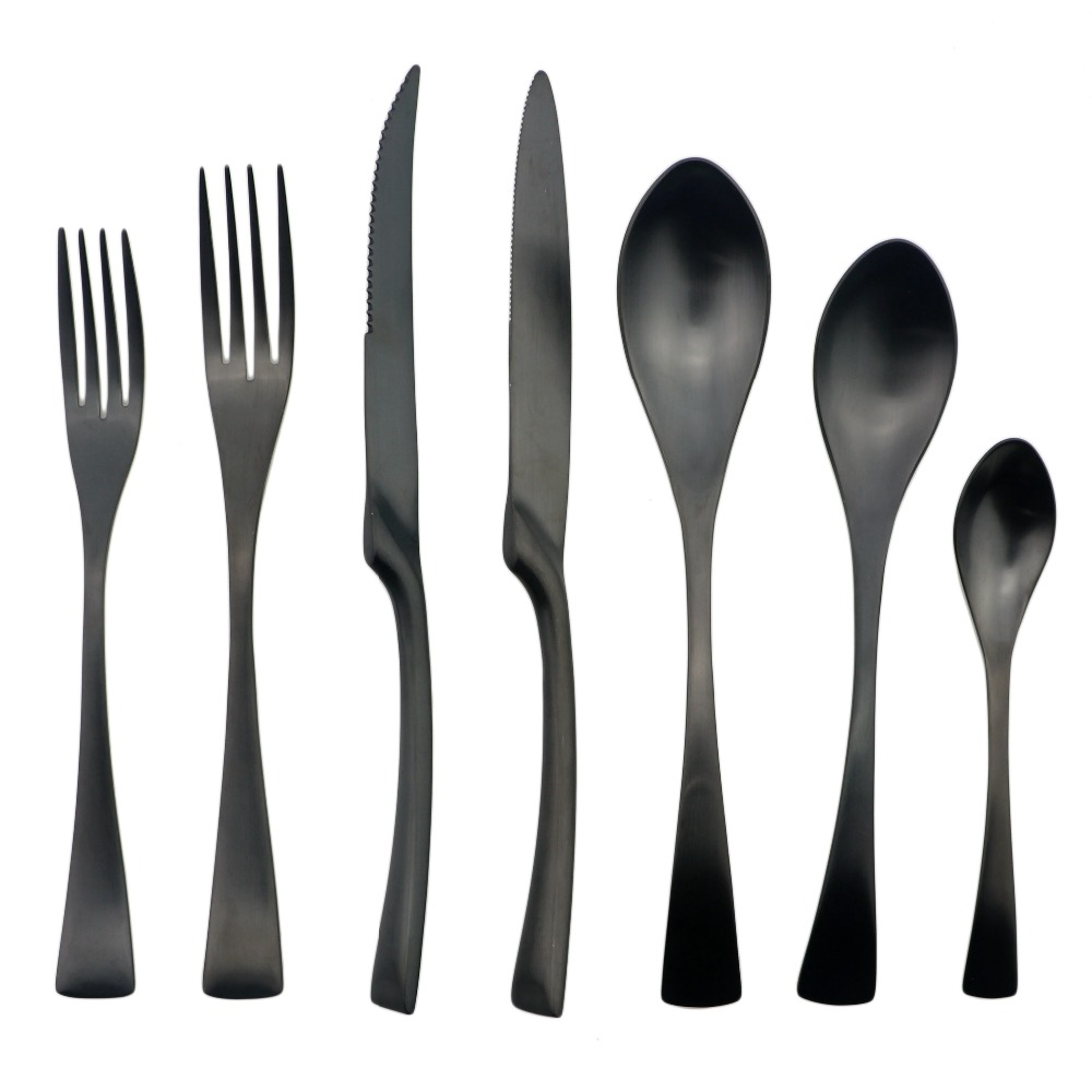 Discount Stainless Flatware Us 22 66 31 Off Aliexpress Buy Jankng 6 Pcs Lot Matte Black Dinner Spoon Flatware Set Stainless Steel Rice Soup Service Spoon Cutlery Salad
