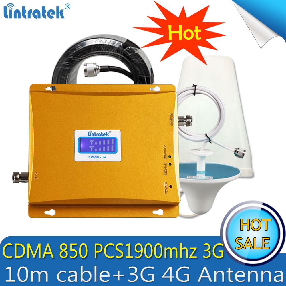 Lintratek GSM850 UMTS 1900MHz 3G Repeater 65dB Gain CDMA850 PCS 1900mhz Cellular Mobile Signal Booster 3G 4G Amplifier